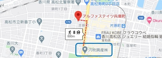 Jointo α「アルファアセットファンド高松兵庫町」の位置