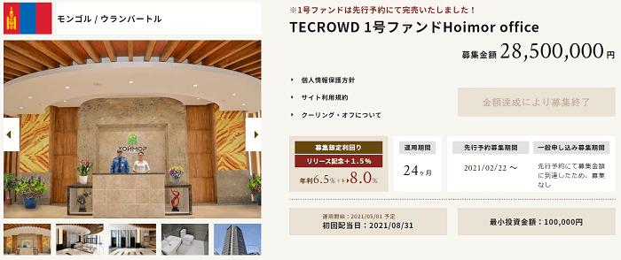 TECROWDで募集されるファンドの例